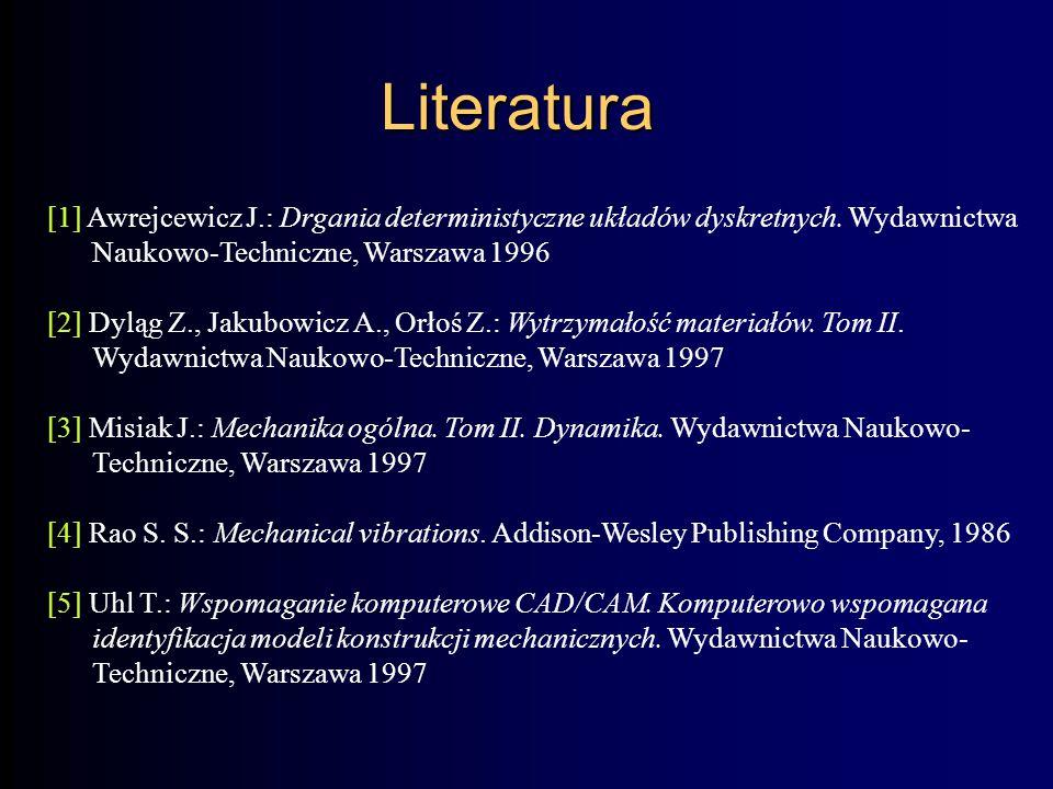 Literatura [1] Awrejcewicz J.: Drgania deterministyczne układów dyskretnych. Wydawnictwa Naukowo-Techniczne, Warszawa 1996.